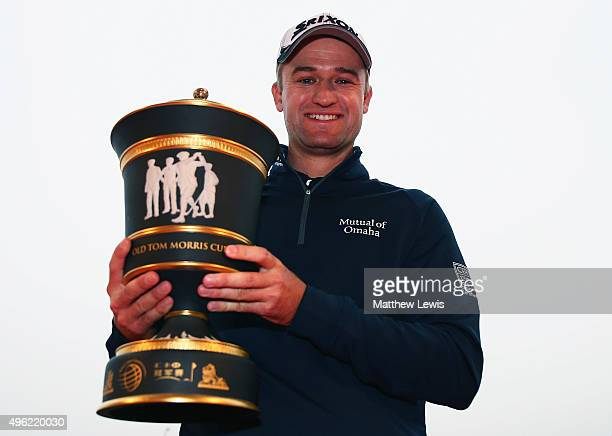Russell Knox of Scotland celebrates with the winners trophy after winning the WGC HSBC Champions at Sheshan International Golf Club on November 8...