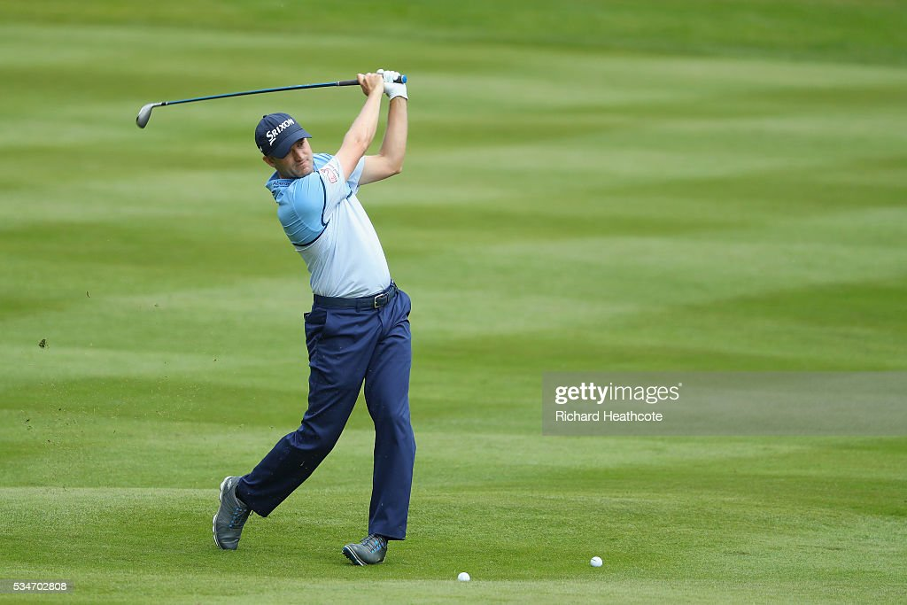 Russell Knox of Scotland hits an approach during day two of the BMW PGA Championship at Wentworth on May 27, 2016 in Virginia Water, England.
