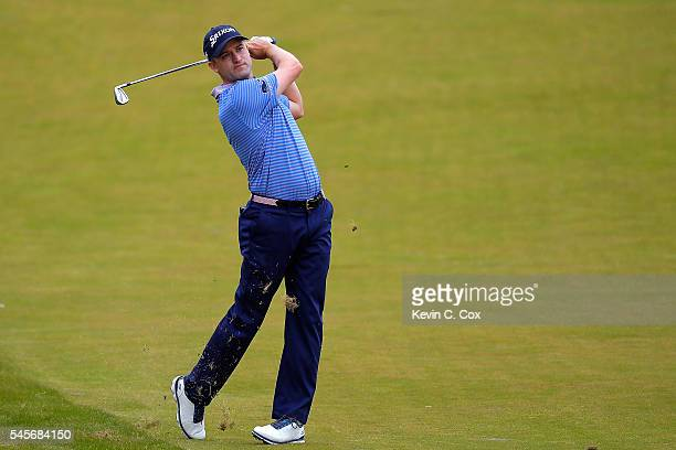 Russell Knox of Scotland hits an approach during the third round of the AAM Scottish Open at Castle Stuart Golf Links on July 9 2016 in Inverness...