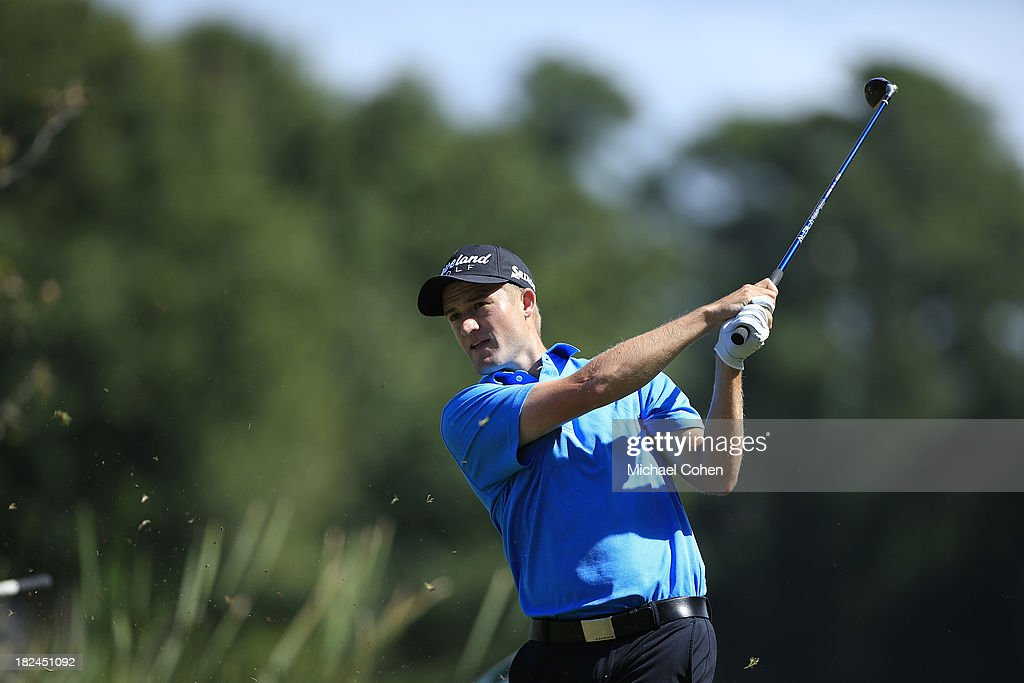 Russell Knox of Scotland hits his drive on the seventh hole during the final round of the Web.com Tour Championship held on the Dye's Valley Course at TPC Sawgrass on September 29, 2013 in Ponte Vedra Beach, Florida.