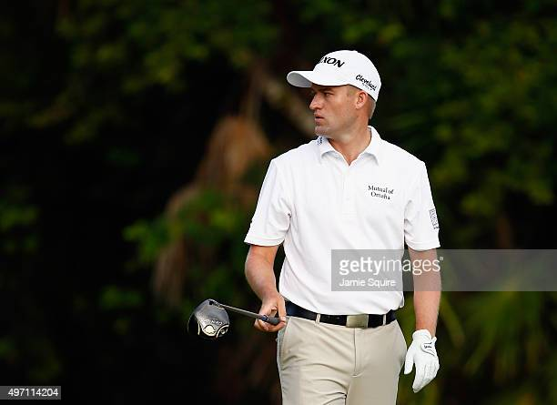 Russell Knox of Scotland hits his first shot on the 2nd hole during the third round of the OHL Classic at the Mayakoba El Camaleon Golf Club on...