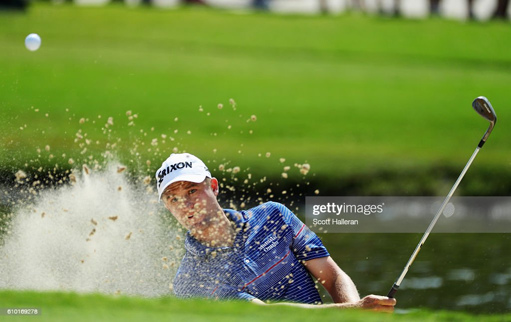 Russell Knox of Scotland plays a bunker shot on the 15th hole during the third round of the TOUR Championship at East Lake Golf Club on September 24, 2016 in Atlanta, Georgia.