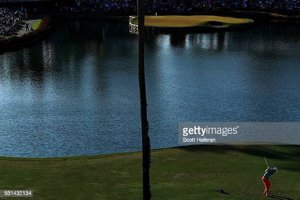Russell Knox of Scotland plays a shot from the 17th tee during the third round of THE PLAYERS Championship at the Stadium course at TPC Sawgrass on...