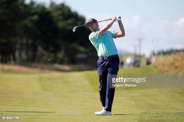 Russell Knox of Scotland plays a shot from the fairway during a ProAm prior to the AAM Scottish Open at Dundonald Links Golf Course on July 12 2017...