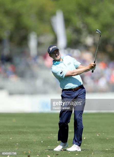 Russell Knox of Scotland plays his second shot on the par 4 first hole in his match against K T Kim during the second round of the 2017 Dell Match...