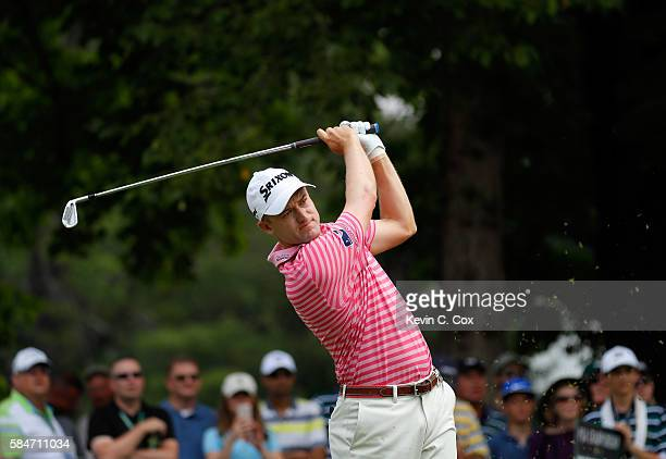 Russell Knox of Scotland plays his shot from the fourth tee during the third round of the 2016 PGA Championship at Baltusrol Golf Club on July 30...