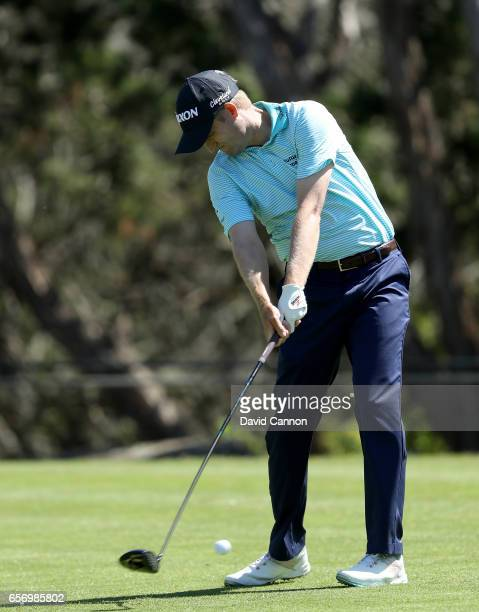 Russell Knox of Scotland plays his tee shot on the par 4 second hole in his match against K T Kim during the second round of the 2017 Dell Match Play...