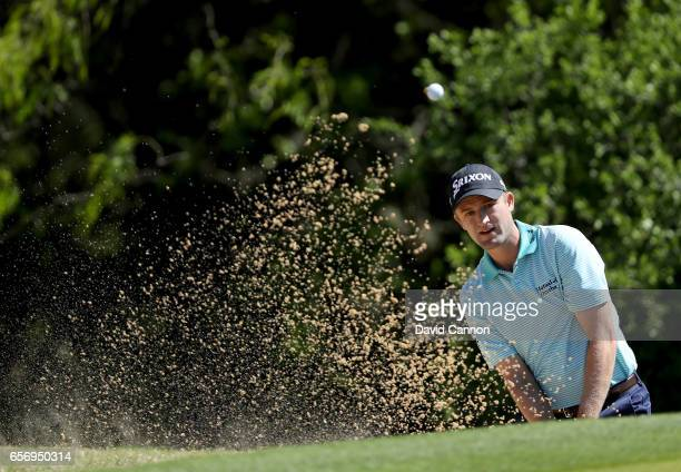 Russell Knox of Scotland plays his third shot on the par 4 first hole in his match against K T Kim during the second round of the 2017 Dell Match...