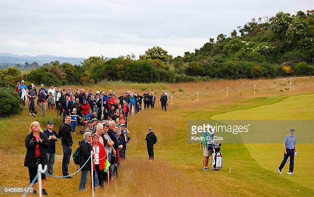 Russell Knox of Scotland reacts on the 5th hole during the third round of the AAM Scottish Open at Castle Stuart Golf Links on July 9 2016 in...