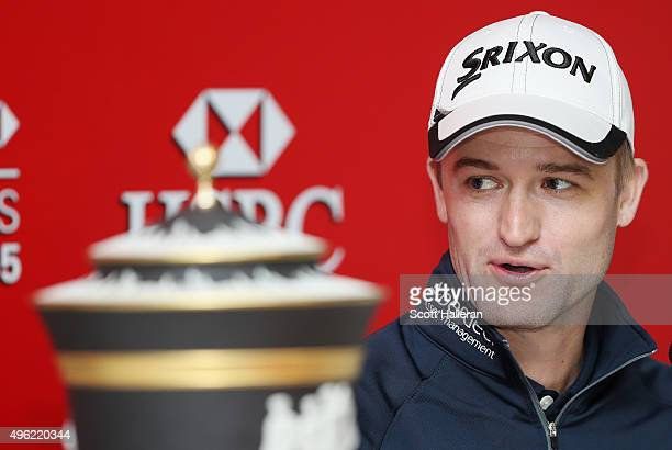 Russell Knox of Scotland speaks with the media after his twostroke victory at the WGC HSBC Champions at the Sheshan International Golf Club on...
