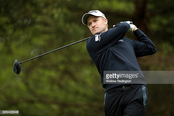 Russell Knox of Scotland tees off on the 11th hole during the final round of the Dubai Duty Free Irish Open Hosted by the Rory Foundation at The K...