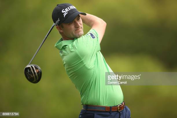 Russell Knox of Scotland tees off on the 3rd hole of his match during round one of the World Golf ChampionshipsDell Technologies Match Play at the...