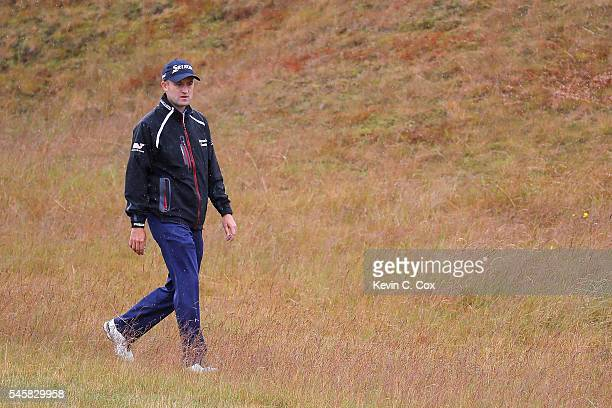 Russell Knox of Scotland walks up the 5th hole during the final round of the AAM Scottish Open at Castle Stuart Golf Links on July 10 2016 in...