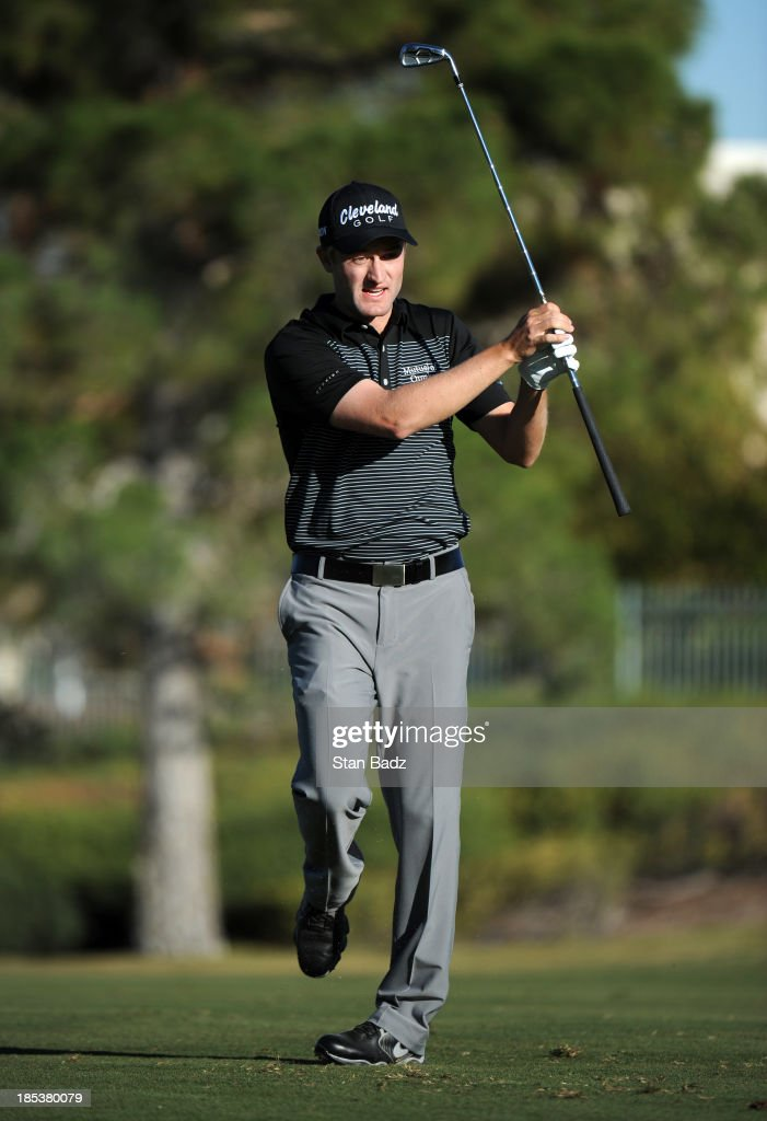 <a gi-track='captionPersonalityLinkClicked' href=/galleries/search?phrase=Russell+Knox&family=editorial&specificpeople=7657969 ng-click='$event.stopPropagation()'>Russell Knox</a> of Scotland watches his shot on the 16th hole during the third round of the Shriners Hospitals for Children Open at TPC Summerlin on October 19, 2013 in Las Vegas, Nevada.