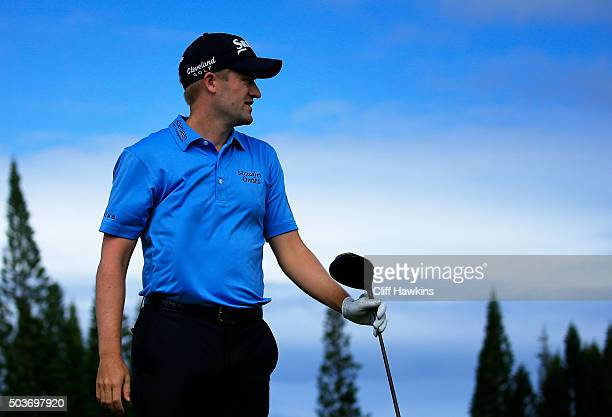 Russell Knox plays a shot during the Hyundai Tournament of Champions ProAm at the Plantation Course at Kapalua Golf Club on January 6 2016 in Lahaina...