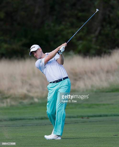 Russell Knox plays his second shot on the 12th hole during the first round of The Barclays in the PGA Tour FedExCup PlayOffs on the Black Course at...