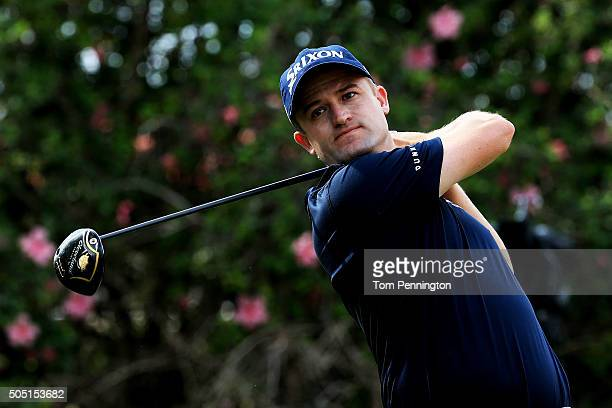 Russell Knox plays his shot from the ninth tee during the second round of the Sony Open In Hawaii at Waialae Country Club on January 15 2016 in...