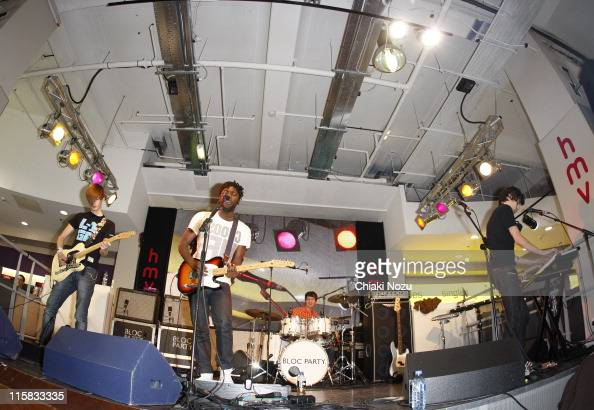 Russell Lissack Kele Okereke Matt Tong and Gordon Moakes of Bloc Party performs at HMV Oxford Street on October 27 2008 in London England