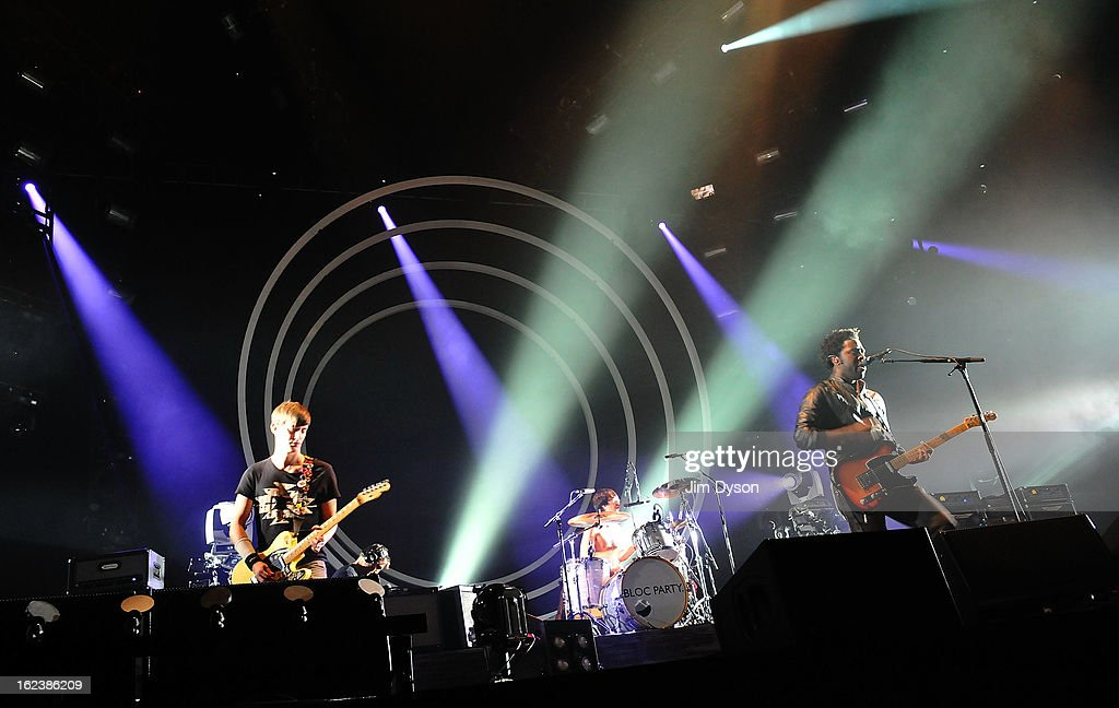 Russell Lissack, Matthew Tong and Kele Okereke of Bloc Party perform live on stage at Earls Court on February 22, 2013 in London, England.