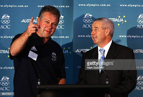 Russell Mark is interviewed by Mike Tancred the AOC Media Director during a press conference announcing the Australian shooting team for the Beijing...