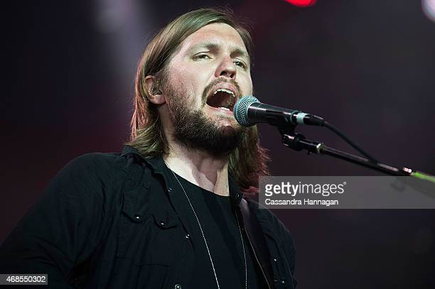 Russell Marsden of Band of Skulls performs at the 2015 Byron Bay Bluesfest on April 4 2015 in Byron Bay Australia