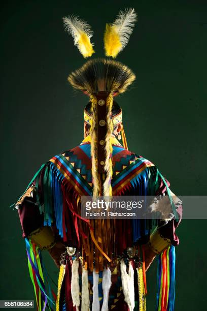 Russell Martin from the Navajo Nation in Albuquerque New Mexico poses for a portrait during the 43rd annual Denver March Powwow at the Denver...