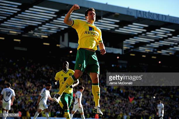 Russell Martin of Norwich City celebrates his goal during the Barclays Premier League match between Norwich City and Swansea City at Carrow Road on...