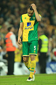 Russell Martin of Norwich City looks dejected after Norwich were relegated during the Barclays Premier League match between Norwich City and Watford...