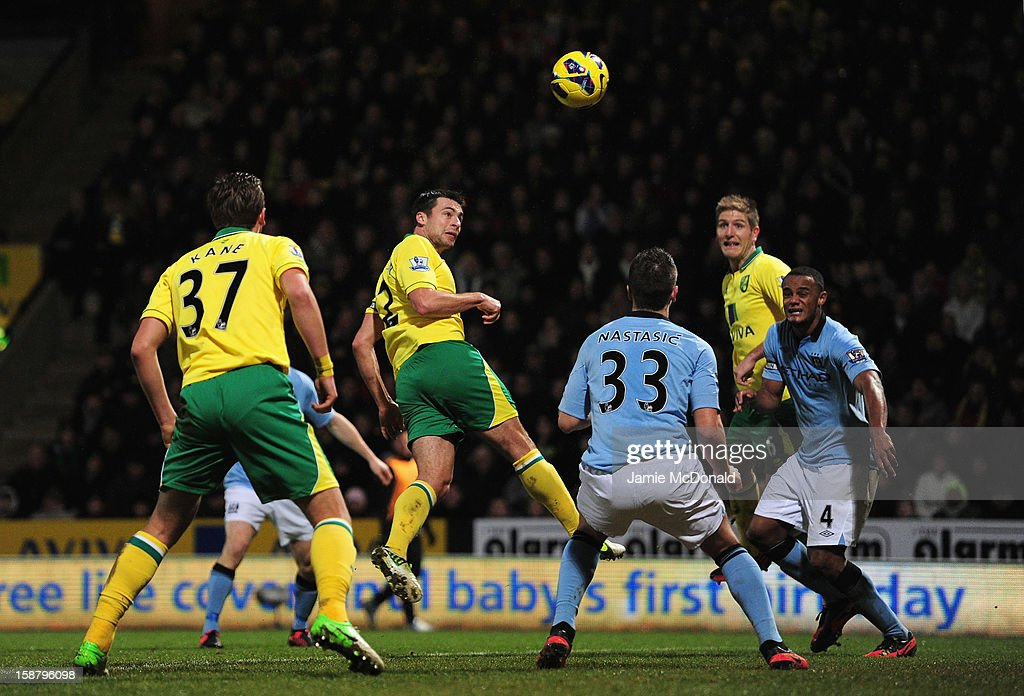 Russell Martin of Norwich City scores his side's second goal during the Barclays Premier League match between Norwich City and Manchester City at Carrow Road on December 29, 2012 in Norwich, England.
