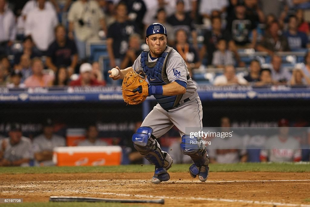 Russell Martin #55 of the Los Angeles Dodgers prepares to throw during the 79th MLB All-Star Game at the Yankee Stadium in the Bronx, New York on July 15, 2008. The American League defeated the National League 4-3.