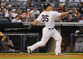Russell Martin of the New York Yankees watches his two run home run in the bottom of the second inning against the New York Mets on May 21 2011 at...