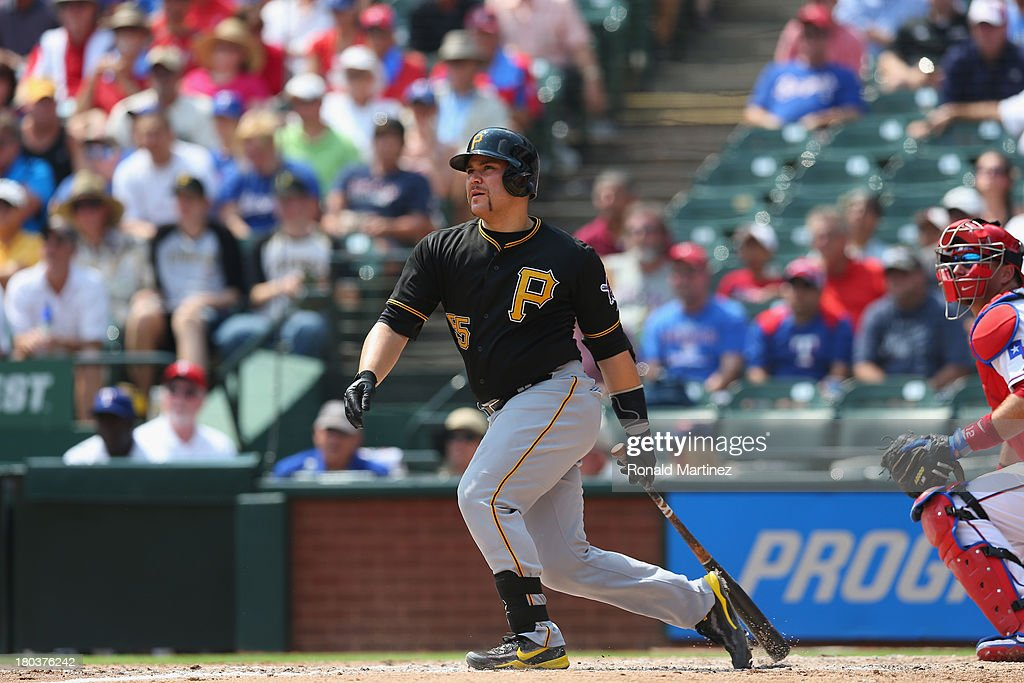 Russell Martin #55 of the Pittsburgh Pirates at Rangers Ballpark in Arlington on September 11, 2013 in Arlington, Texas.