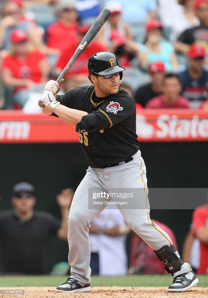 Russell Martin #55 of the Pittsburgh Pirates bats in the ninth inning during the MLB game against the Los Angeles Angels of Anaheim at Angel Stadium of Anaheim on June 23, 2013 in Anaheim, California. The Pirates defeated the Angels 10-9 in ten innings.