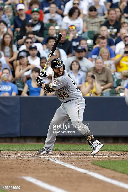 Russell Martin of the Pittsburgh Pirates gets ready for the next pitch during the game against the Milwaukee Brewers at Miller Park on August 24 2014...