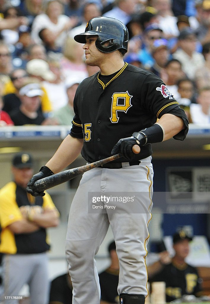 Russell Martin #55 of the Pittsburgh Pirates heads back to the dugout after striking out during the ninth inning of a baseball game against the San Diego Padres at Petco Park on August 21, 2013 in San Diego, California. The Padres won 2-1.