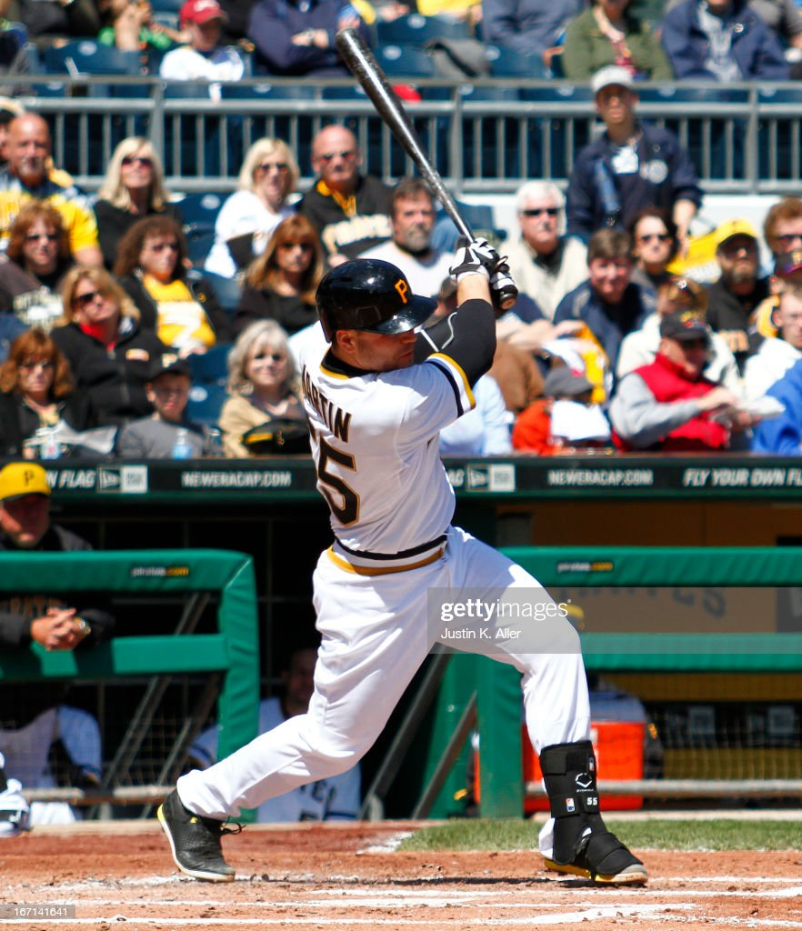 Russell Martin #55 of the Pittsburgh Pirates hits an RBI double in the second inning against the Atlanta Braves during the game on April 21, 2013 at PNC Park in Pittsburgh, Pennsylvania.