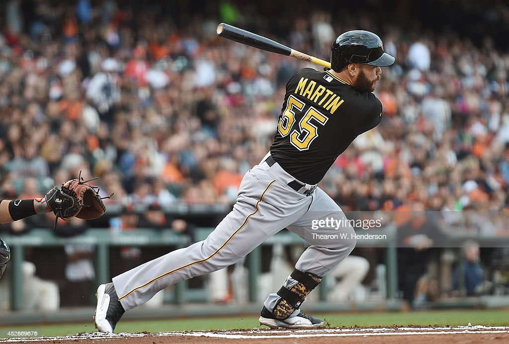 <a gi-track='captionPersonalityLinkClicked' href=/galleries/search?phrase=Russell+Martin+-+Baseball+Player&family=editorial&specificpeople=13764024 ng-click='$event.stopPropagation()'>Russell Martin</a> #55 of the Pittsburgh Pirates hits an RBI single scoring Andrew McCutchen #22 against the San Francisco Giants in the top of the first inning at AT&T Park on July 28, 2014 in San Francisco, California.