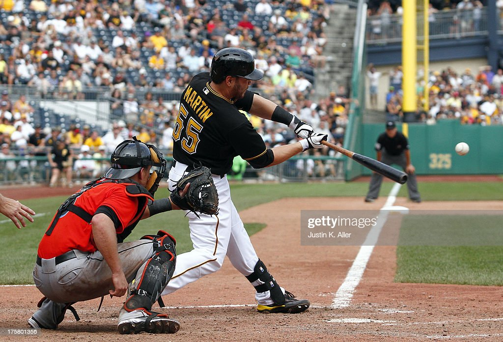 <a gi-track='captionPersonalityLinkClicked' href=/galleries/search?phrase=Russell+Martin+-+Baseball+Player&family=editorial&specificpeople=13764024 ng-click='$event.stopPropagation()'>Russell Martin</a> #55 of the Pittsburgh Pirates hits the game-winning RBI single in the tenth inning against the Miami Marlins during the game on August 8, 2013 at PNC Park in Pittsburgh, Pennsylvania.