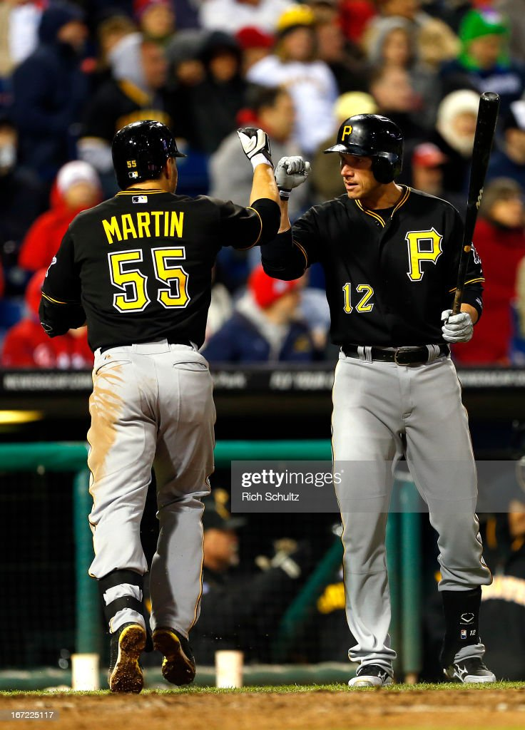 <a gi-track='captionPersonalityLinkClicked' href=/galleries/search?phrase=Russell+Martin+-+Baseball+Player&family=editorial&specificpeople=13764024 ng-click='$event.stopPropagation()'>Russell Martin</a> #55 of the Pittsburgh Pirates is congratulated by teammate <a gi-track='captionPersonalityLinkClicked' href=/galleries/search?phrase=Clint+Barmes&family=editorial&specificpeople=208223 ng-click='$event.stopPropagation()'>Clint Barmes</a> #12 after hitting a solo home run during the fifth inning against the Philadelphia Phillies in a MLB baseball game on April 22, 2013 at Citizens Bank Park in Philadelphia, Pennsylvania.