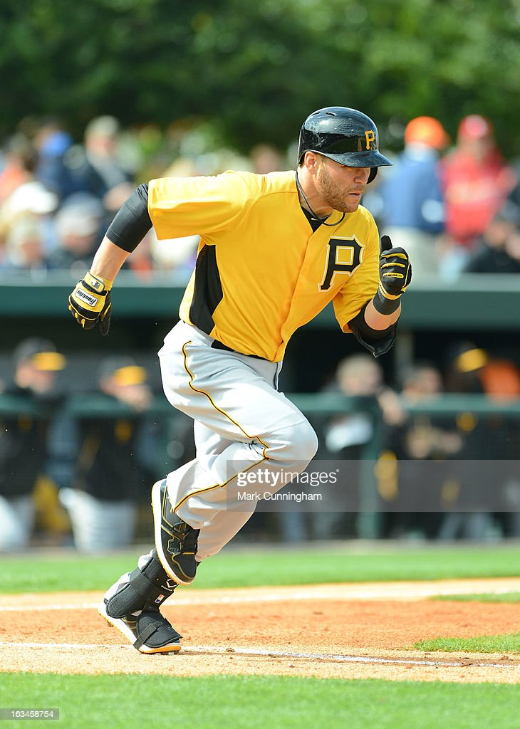 Russell Martin #55 of the Pittsburgh Pirates runs the bases during the spring training game against the Detroit Tigers at Joker Marchant Stadium on March 2, 2013 in Lakeland, Florida. The Tigers defeated the Pirates 4-1.