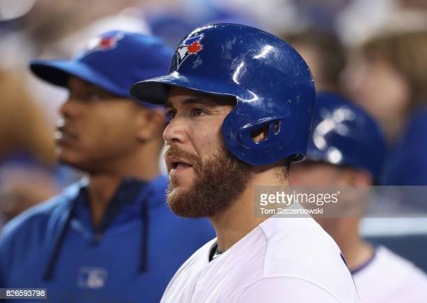 Russell Martin of the Toronto Blue Jays and Marcus Stroman look on during MLB game action against the Los Angeles Angels of Anaheim at Rogers Centre...