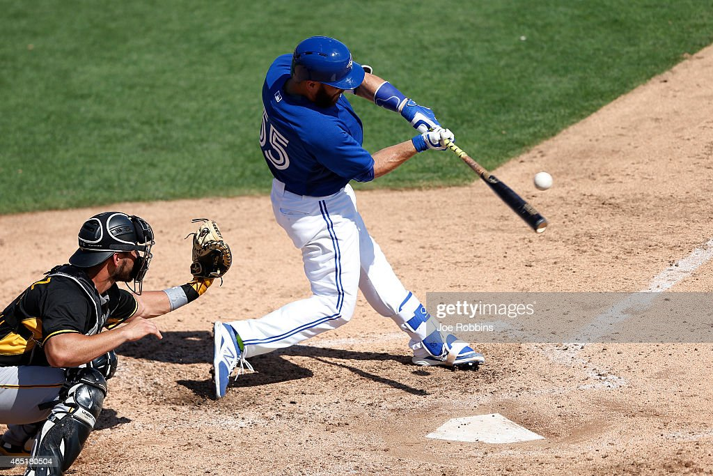 Russell Martin #55 of the Toronto Blue Jays bats in the third inning of the game against the Pittsburgh Pirates at Florida Auto Exchange Stadium on March 3, 2015 in Dunedin, Florida. The Pirates defeated the Blue Jays 8-7.