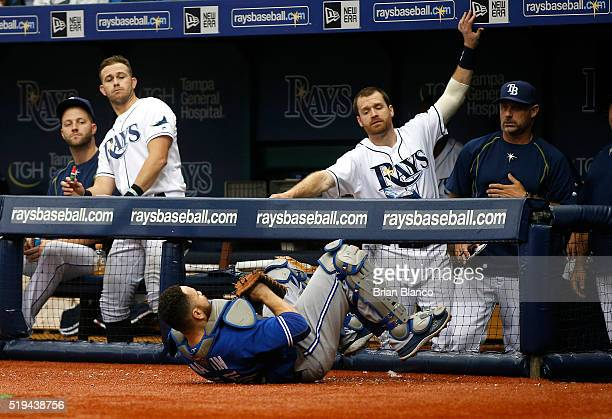 Russell Martin of the Toronto Blue Jays hauls in the pop foul by Steve Pearce of the Tampa Bay Rays during the sixth inning of a game on April 6 2016...