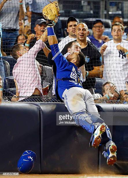 Russell Martin of the Toronto Blue Jays in action against the New York Yankees at Yankee Stadium on August 7 2015 in the Bronx borough of New York...