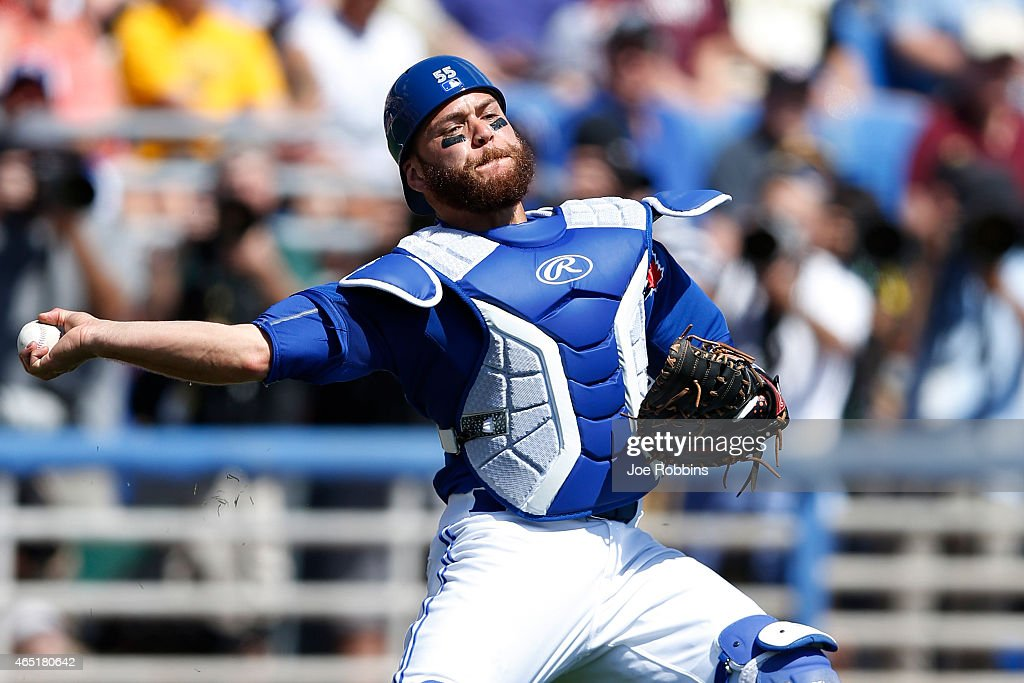 Russell Martin #55 of the Toronto Blue Jays makes a play from behind the plate in the first inning of the game against the Pittsburgh Pirates at Florida Auto Exchange Stadium on March 3, 2015 in Dunedin, Florida. The Pirates defeated the Blue Jays 8-7.