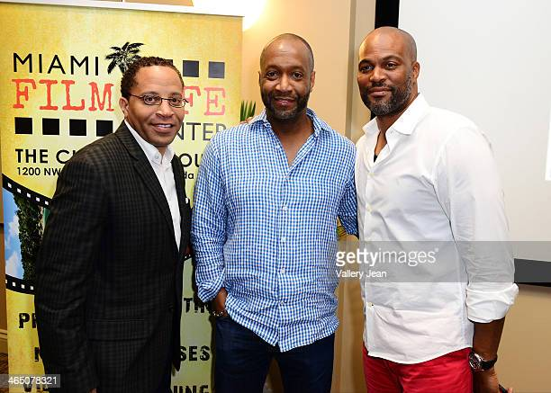 Russell Motley Jeff Fiday and Chris Spencer attend a master class series A Conversation with Chris Spencer conducted by Miami Film Life Center at...