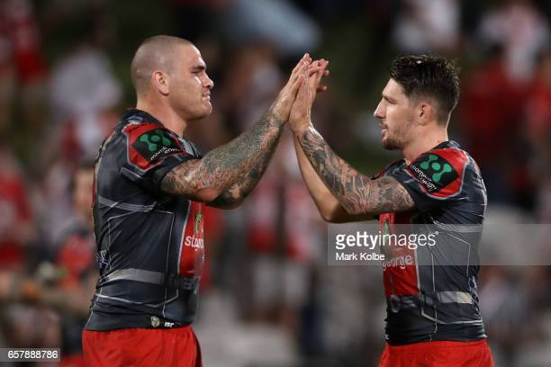 Russell Packer and Gareth Widdop of the Dragons celebrate victory during the round four NRL match between the St George Illawarra Dragons and the New...