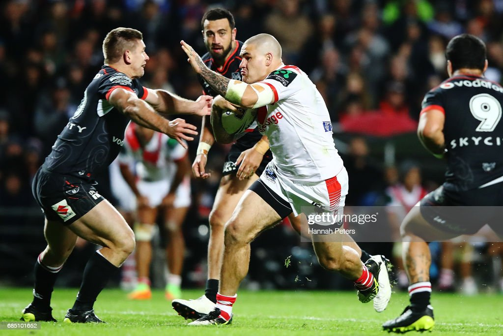 Russell Packer of the Dragons charges forward during the round 11 NRL match between the New Zealand Warriors and the St George Illawarra Dragons at Waikato Stadium on May 19, 2017 in Hamilton, New Zealand.