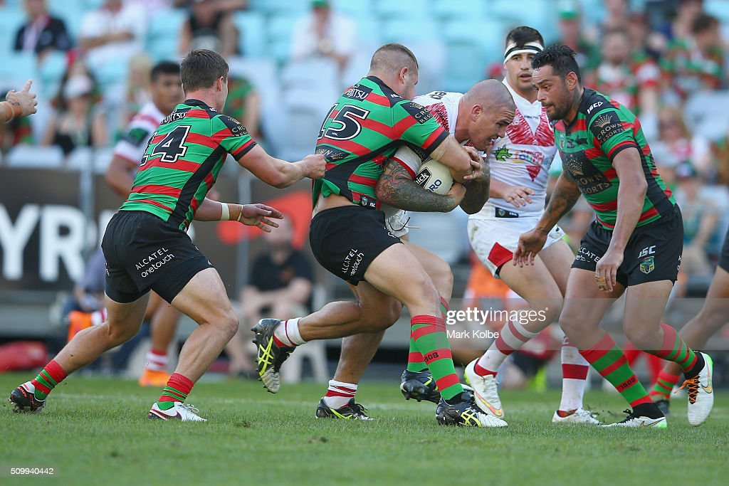 Russell Packer of the Dragons is tackled during the NRL Charity Shield match between the St George Illawarra Dragons and the South Sydney Rabbitohs at ANZ Stadium on February 13, 2016 in Sydney, Australia.