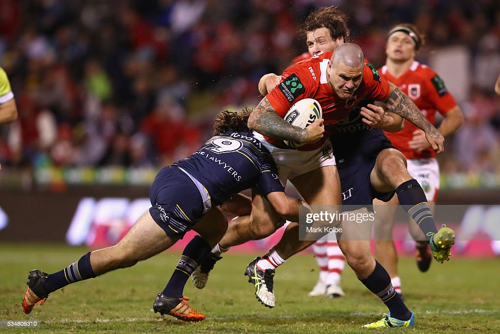 Russell Packer of the Dragons is tackled during the round 12 NRL match between the St George Illawarra Dragons and the North Queensland Cowboys at WIN Jubilee Stadium on May 28, 2016 in Wollongong, Australia.